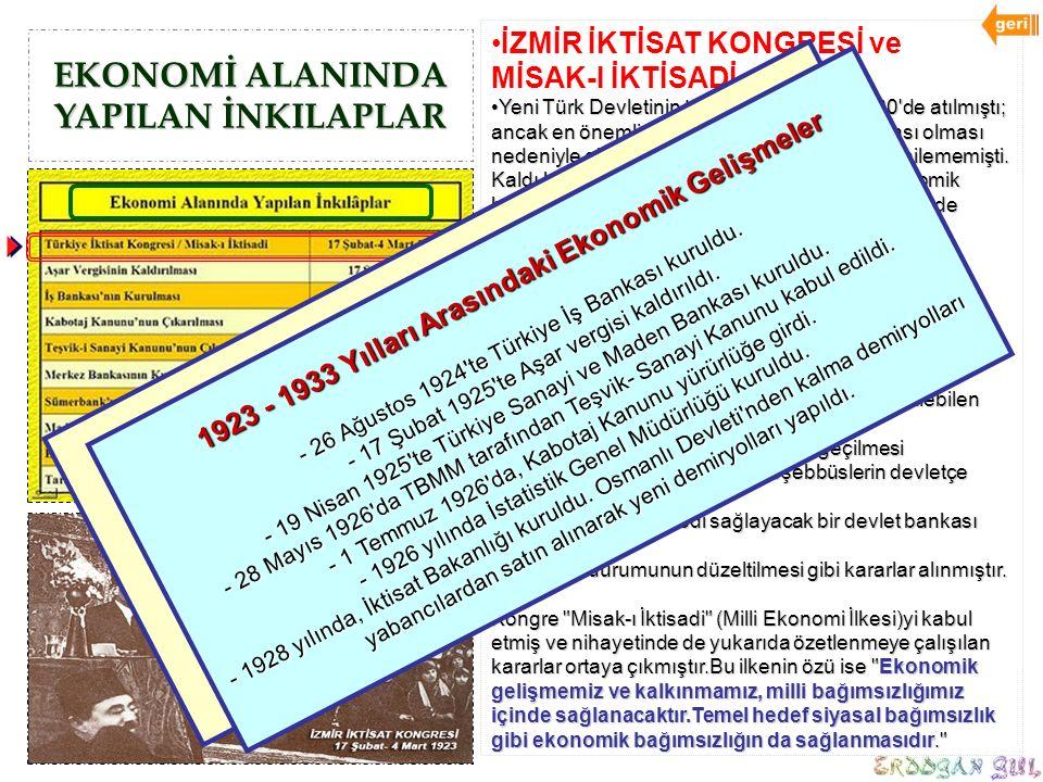 EKONOMİ ALANINDA YAPILAN İNKILAPLAR İZMİR İKTİSAT KONGRESİ ve MİSAK-I İKTİSADİ Yeni Türk Devletinin temelleri 23 Nisan 1920'de atılmıştı; ancak en öne