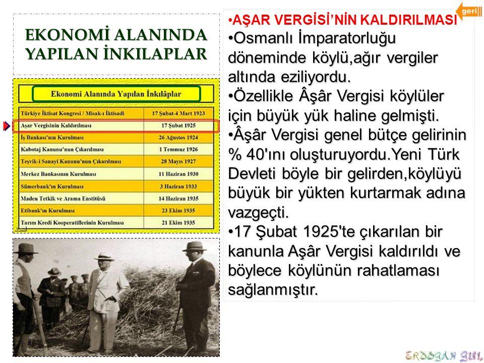 EKONOMİ ALANINDA YAPILAN İNKILAPLAR AŞAR VERGİSİ'NİN KALDIRILMASI Osmanlı İmparatorluğu döneminde köylü,ağır vergiler altında eziliyordu.Osmanlı İmpar