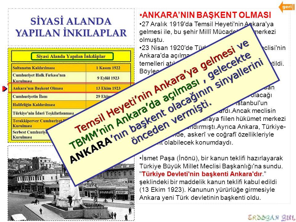 SİYASİ ALANDA YAPILAN İNKILAPLAR ANKARA'NIN BAŞKENT OLMASI 27 Aralık 1919'da Temsil Heyeti'nin Ankara'ya gelmesi ile, bu şehir Millî Mücadele'nin merk