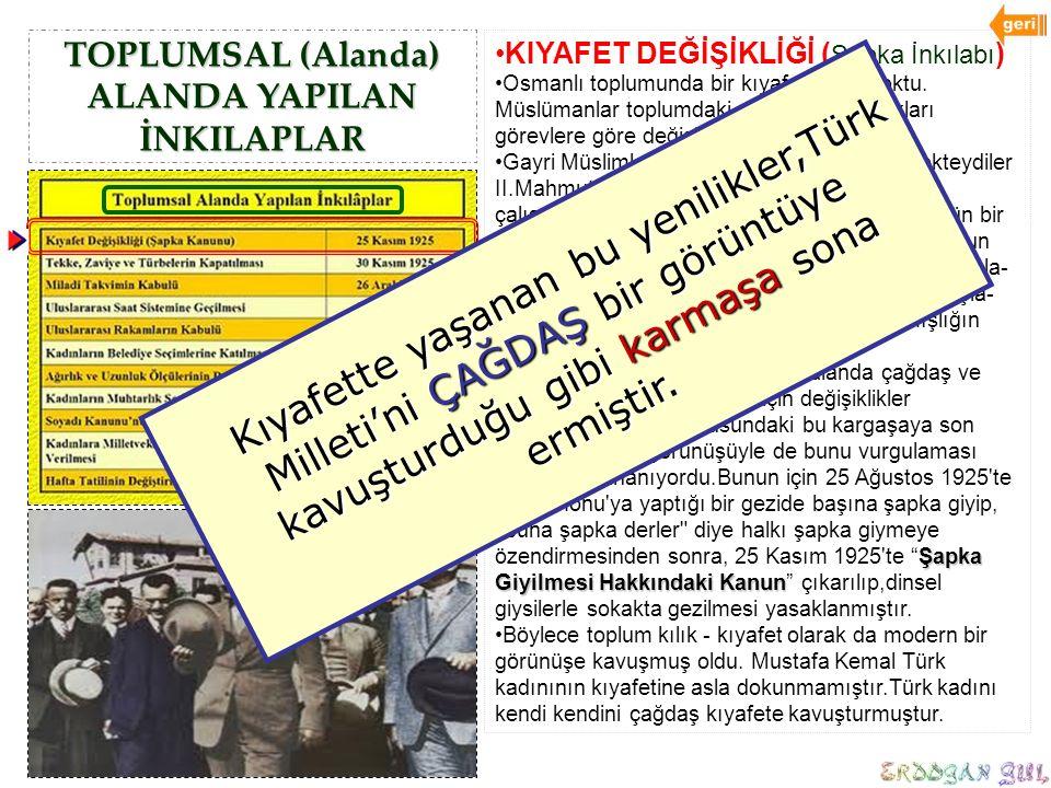 TOPLUMSAL (Alanda) ALANDA YAPILAN İNKILAPLAR KIYAFET DEĞİŞİKLİĞİ ( Şapka İnkılabı ) Osmanlı toplumunda bir kıyafet birliği yoktu. Müslümanlar toplumda