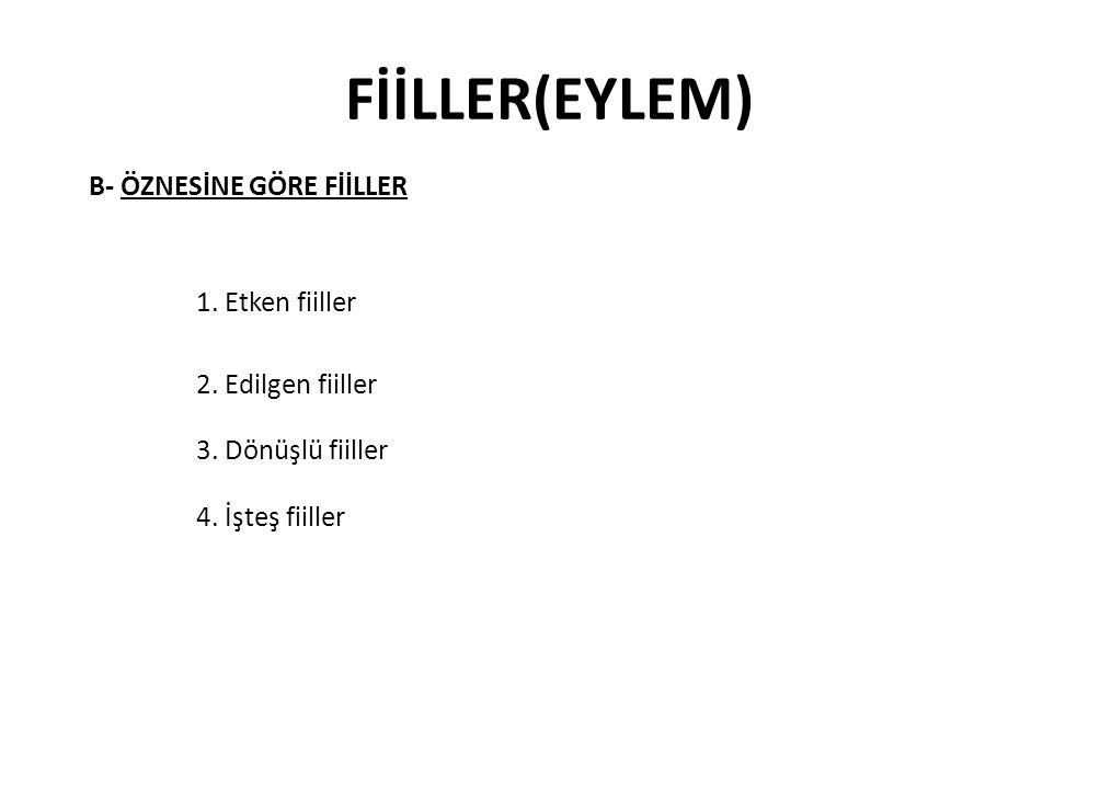 FİİLLER(EYLEM) B- ÖZNESİNE GÖRE FİİLLER 2. Edilgen fiiller 4. İşteş fiiller 1. Etken fiiller 3. Dönüşlü fiiller