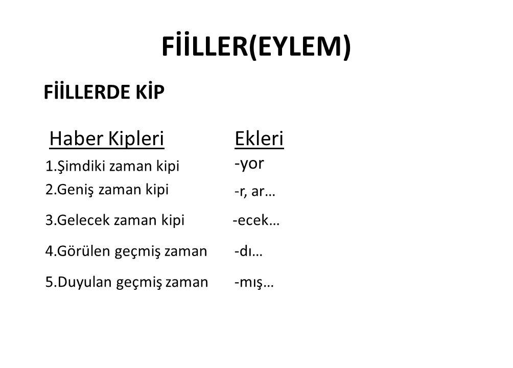 FİİLLER(EYLEM) FİİLLERDE KİP Dilek Kipleri -meli Dilek-şart kipi Emir kipi Gereklilik kipi İstek kipi-e -se - Ekleri