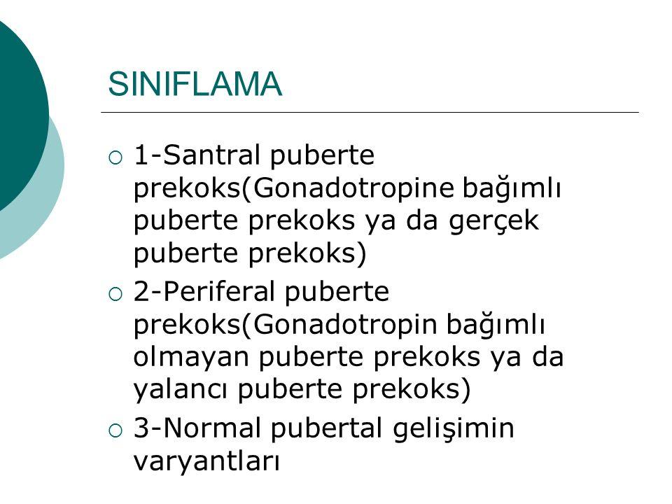 SINIFLAMA  1-Santral puberte prekoks(Gonadotropine bağımlı puberte prekoks ya da gerçek puberte prekoks)  2-Periferal puberte prekoks(Gonadotropin b
