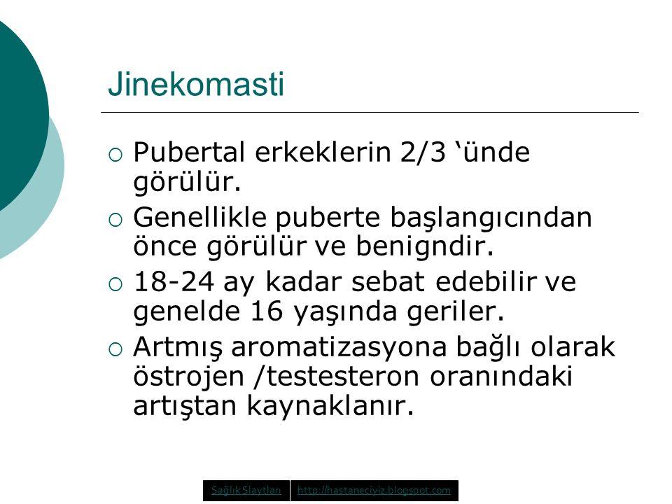 Jinekomasti  Pubertal erkeklerin 2/3 'ünde görülür.  Genellikle puberte başlangıcından önce görülür ve benigndir.  18-24 ay kadar sebat edebilir ve