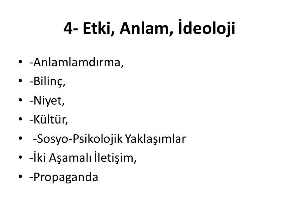 4- Etki, Anlam, İdeoloji -Anlamlamdırma, -Bilinç, -Niyet, -Kültür, -Sosyo-Psikolojik Yaklaşımlar -İki Aşamalı İletişim, -Propaganda