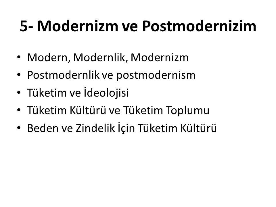 5- Modernizm ve Postmodernizim Modern, Modernlik, Modernizm Postmodernlik ve postmodernism Tüketim ve İdeolojisi Tüketim Kültürü ve Tüketim Toplumu Be