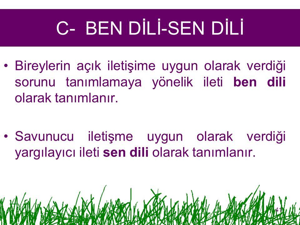 C- BEN DİLİ-SEN DİLİ Bireylerin açık iletişime uygun olarak verdiği sorunu tanımlamaya yönelik ileti ben dili olarak tanımlanır. Savunucu iletişme uyg