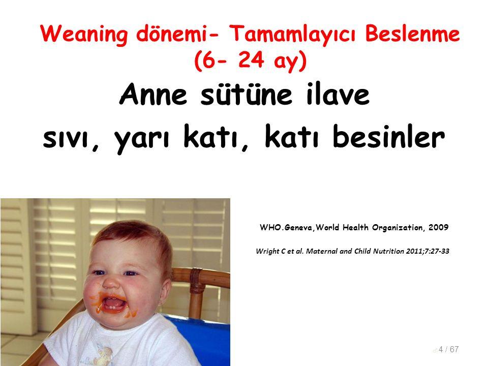 Weaning dönemi- Tamamlayıcı Beslenme (6- 24 ay) Anne sütüne ilave sıvı, yarı katı, katı besinler WHO.Geneva,World Health Organization, 2009 Wright C e