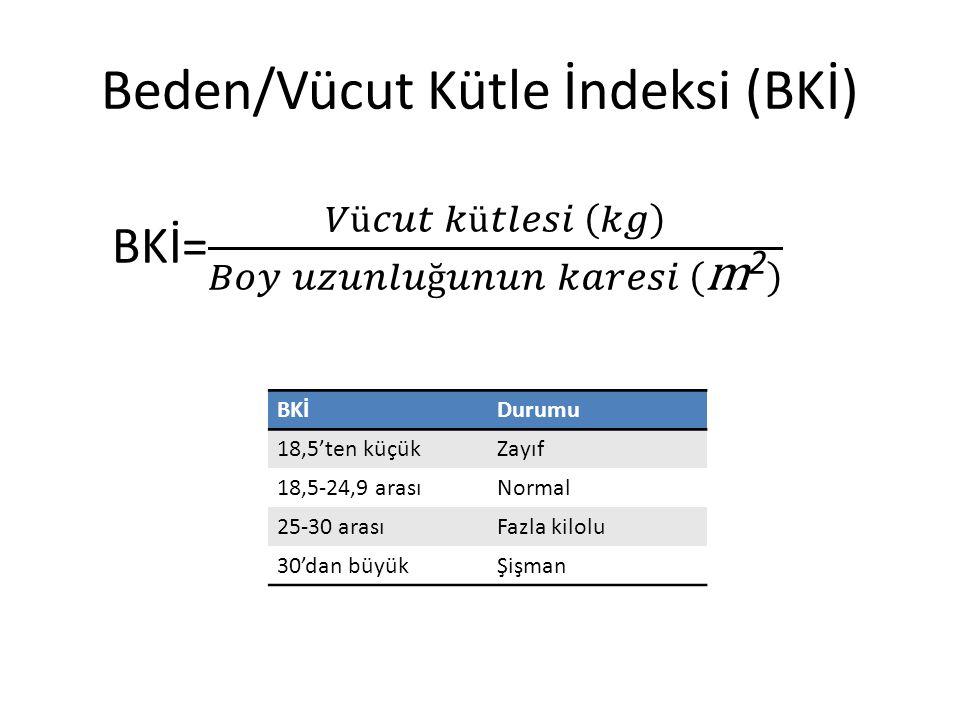 Beden/Vücut Kütle İndeksi (BKİ) BKİDurumu 18,5'ten küçükZayıf 18,5-24,9 arasıNormal 25-30 arasıFazla kilolu 30'dan büyükŞişman