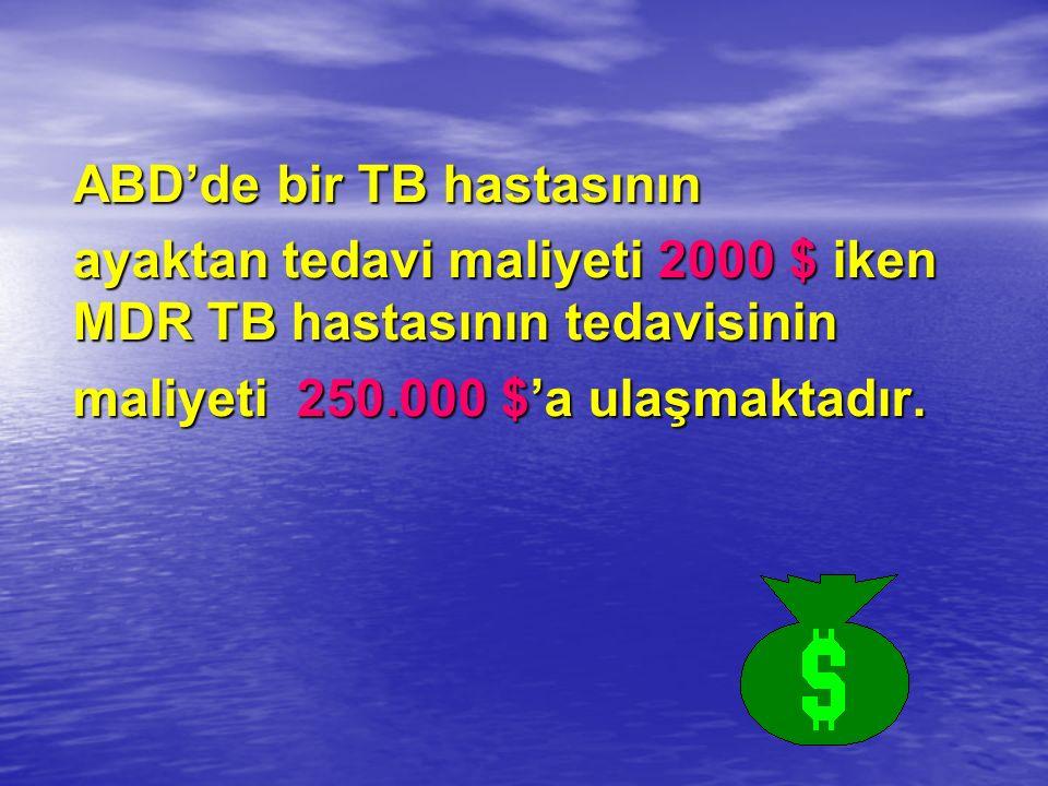 ABD'de bir TB hastasının ayaktan tedavi maliyeti 2000 $ iken MDR TB hastasının tedavisinin maliyeti 250.000 $'a ulaşmaktadır.