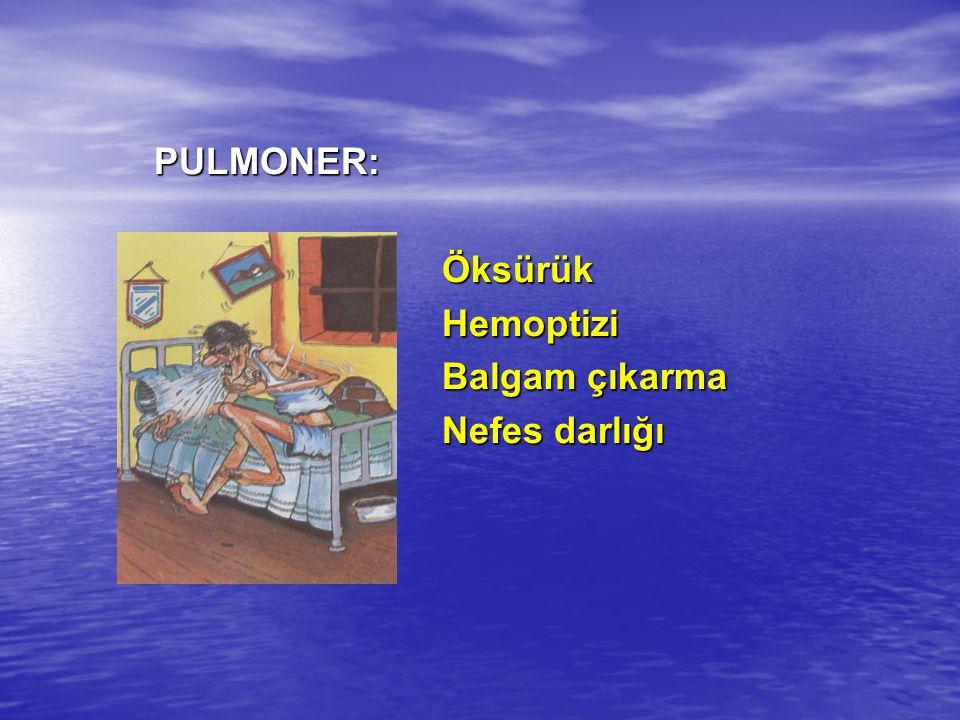 PULMONER:ÖksürükHemoptizi Balgam çıkarma Nefes darlığı