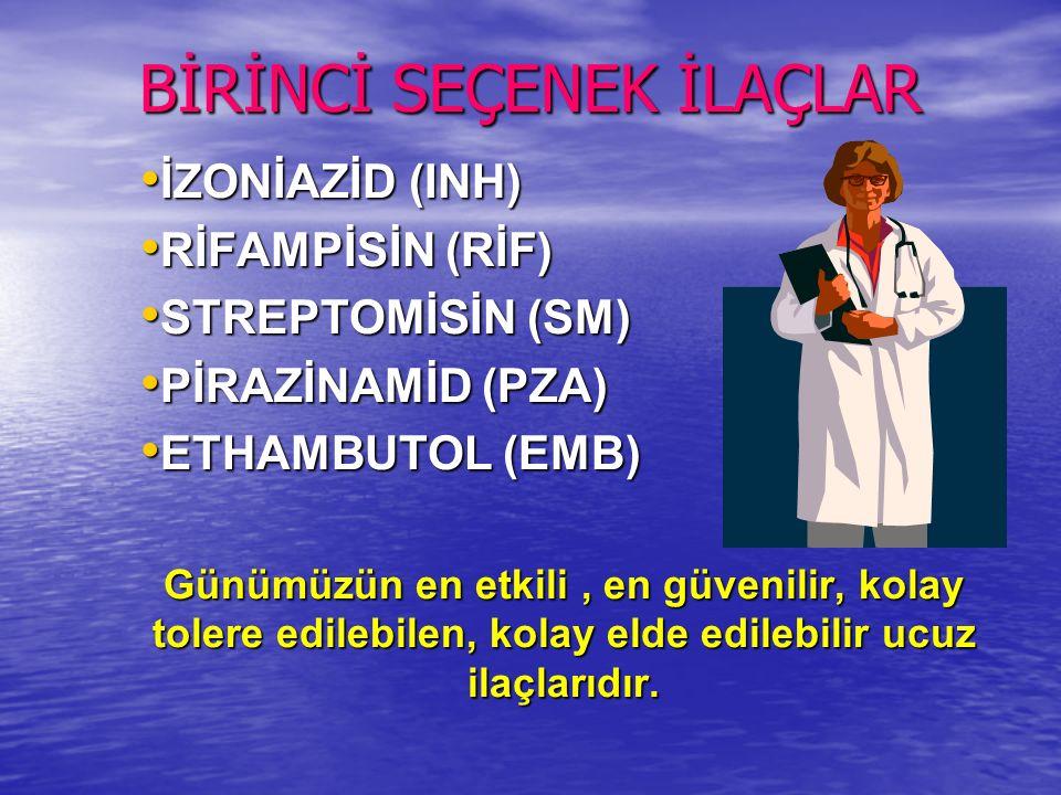 BİRİNCİ SEÇENEK İLAÇLAR İZONİAZİD (INH) İZONİAZİD (INH) RİFAMPİSİN (RİF) RİFAMPİSİN (RİF) STREPTOMİSİN (SM) STREPTOMİSİN (SM) PİRAZİNAMİD (PZA) PİRAZİNAMİD (PZA) ETHAMBUTOL (EMB) ETHAMBUTOL (EMB) Günümüzün en etkili, en güvenilir, kolay tolere edilebilen, kolay elde edilebilir ucuz ilaçlarıdır.