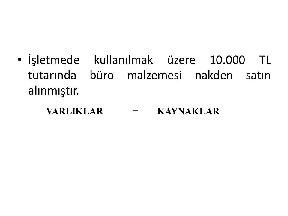 İşletmede kullanılmak üzere 10.000 TL tutarında büro malzemesi nakden satın alınmıştır. VARLIKLAR = KAYNAKLAR