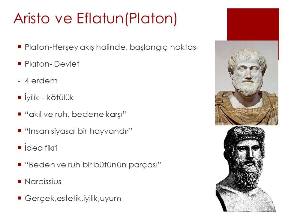 """Aristo ve Eflatun(Platon)  Platon-Herşey akış halinde, başlangıç noktası  Platon- Devlet -4 erdem  İyilik - kötülük  """"akıl ve ruh, bedene karşı"""" """