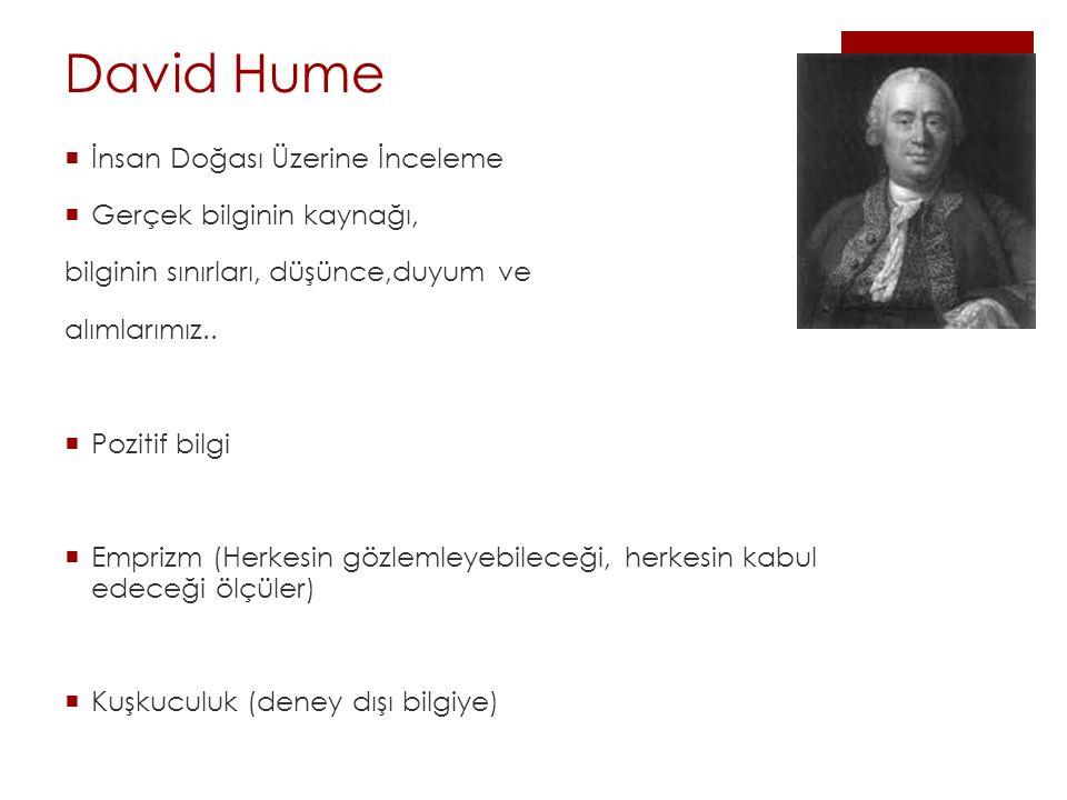 David Hume  İnsan Doğası Üzerine İnceleme  Gerçek bilginin kaynağı, bilginin sınırları, düşünce,duyum ve alımlarımız..  Pozitif bilgi  Emprizm (He