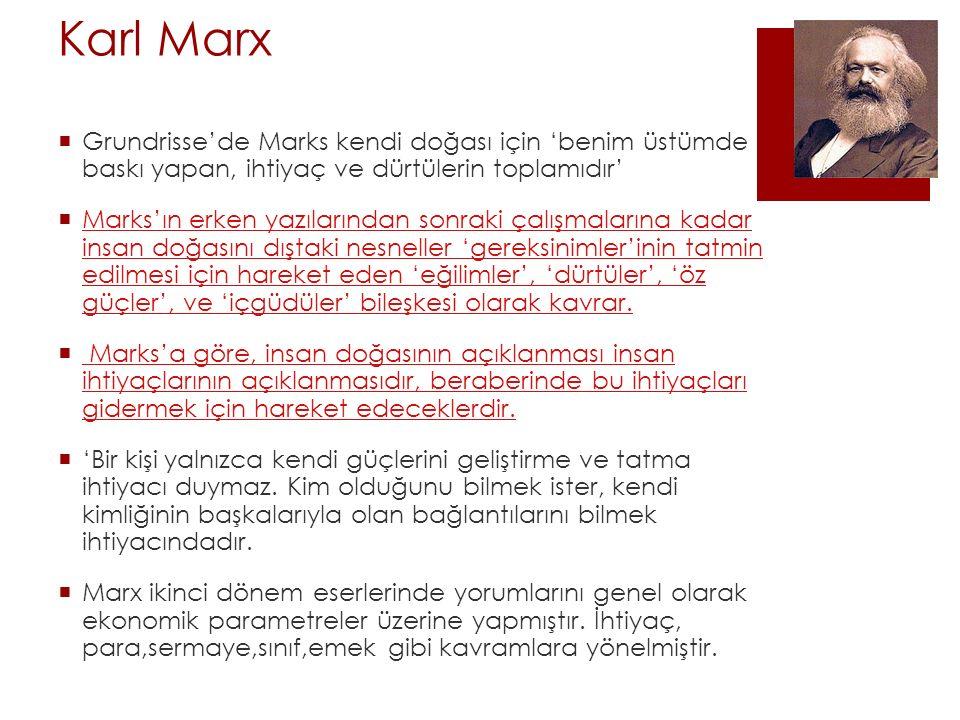 Karl Marx  Grundrisse'de Marks kendi doğası için 'benim üstümde baskı yapan, ihtiyaç ve dürtülerin toplamıdır'  Marks'ın erken yazılarından sonraki