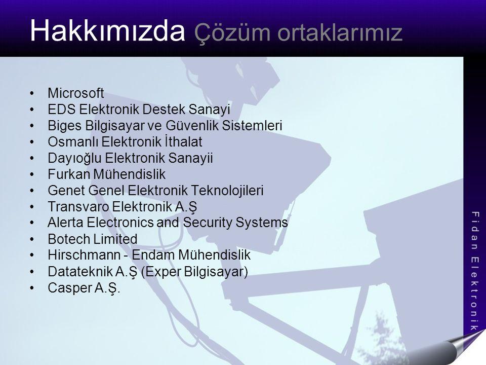 Hakkımızda Çözüm ortaklarımız Microsoft EDS Elektronik Destek Sanayi Biges Bilgisayar ve Güvenlik Sistemleri Osmanlı Elektronik İthalat Dayıoğlu Elekt