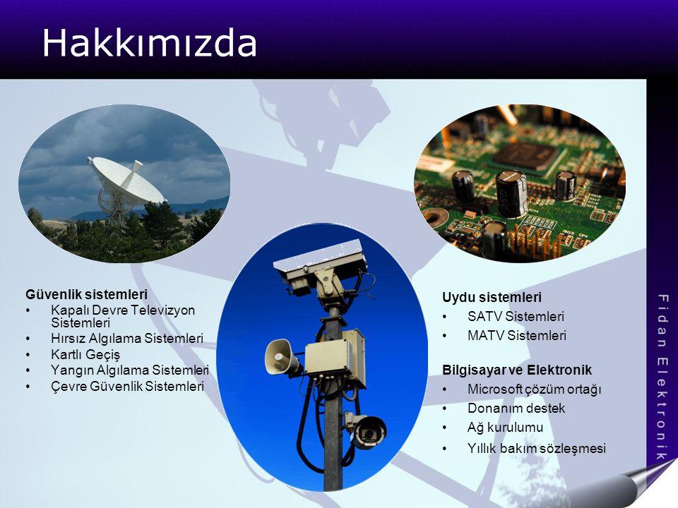 Hakkımızda Güvenlik sistemleri Kapalı Devre Televizyon Sistemleri Hırsız Algılama Sistemleri Kartlı Geçiş Yangın Algılama Sistemleri Çevre Güvenlik Si