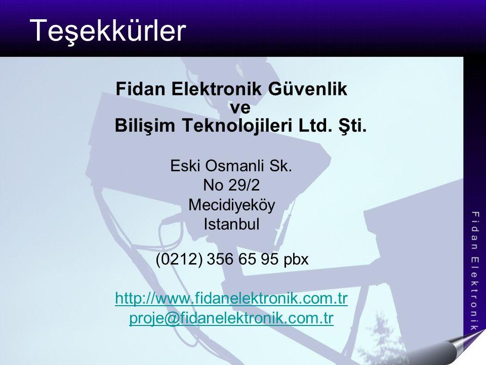 Teşekkürler Fidan Elektronik Güvenlik ve Bilişim Teknolojileri Ltd. Şti. Eski Osmanli Sk. No 29/2 Mecidiyeköy Istanbul (0212) 356 65 95 pbx http://www