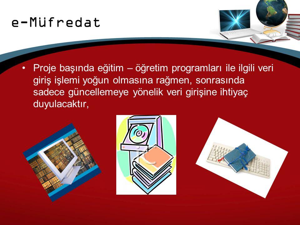 e-Müfredat Proje başında eğitim – öğretim programları ile ilgili veri giriş işlemi yoğun olmasına rağmen, sonrasında sadece güncellemeye yönelik veri