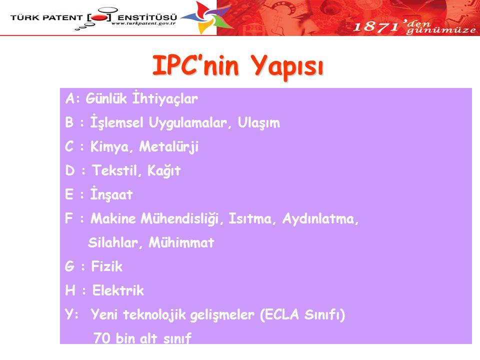 IPC'nin Yapısı A: Günlük İhtiyaçlar B : İşlemsel Uygulamalar, Ulaşım C : Kimya, Metalürji D : Tekstil, Kağıt E : İnşaat F : Makine Mühendisliği, Isıtma, Aydınlatma, Silahlar, Mühimmat G : Fizik H : Elektrik Y: Yeni teknolojik gelişmeler (ECLA Sınıfı) 70 bin alt sınıf