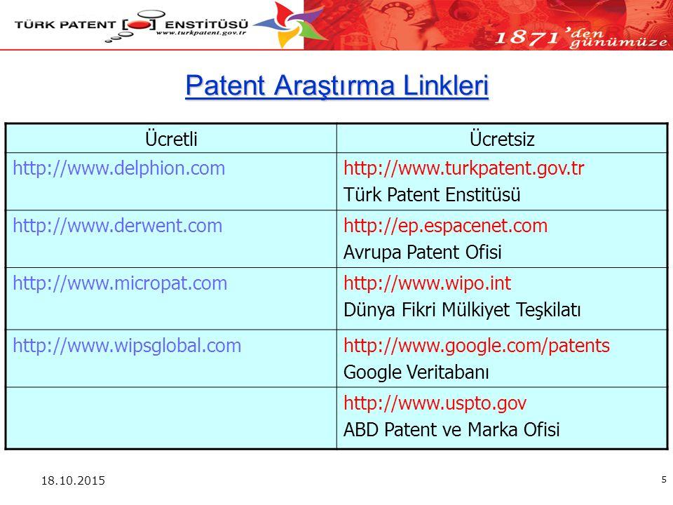 18.10.2015 5 Patent Araştırma Linkleri ÜcretliÜcretsiz http://www.delphion.comhttp://www.turkpatent.gov.tr Türk Patent Enstitüsü http://www.derwent.comhttp://ep.espacenet.com Avrupa Patent Ofisi http://www.micropat.comhttp://www.wipo.int Dünya Fikri Mülkiyet Teşkilatı http://www.wipsglobal.comhttp://www.google.com/patents Google Veritabanı http://www.uspto.gov ABD Patent ve Marka Ofisi