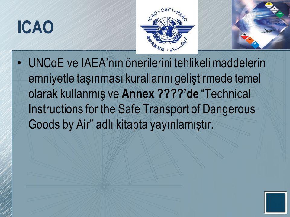 """ICAO UNCoE ve IAEA'nın önerilerini tehlikeli maddelerin emniyetle taşınması kurallarını geliştirmede temel olarak kullanmış ve Annex ????'de """"Technica"""