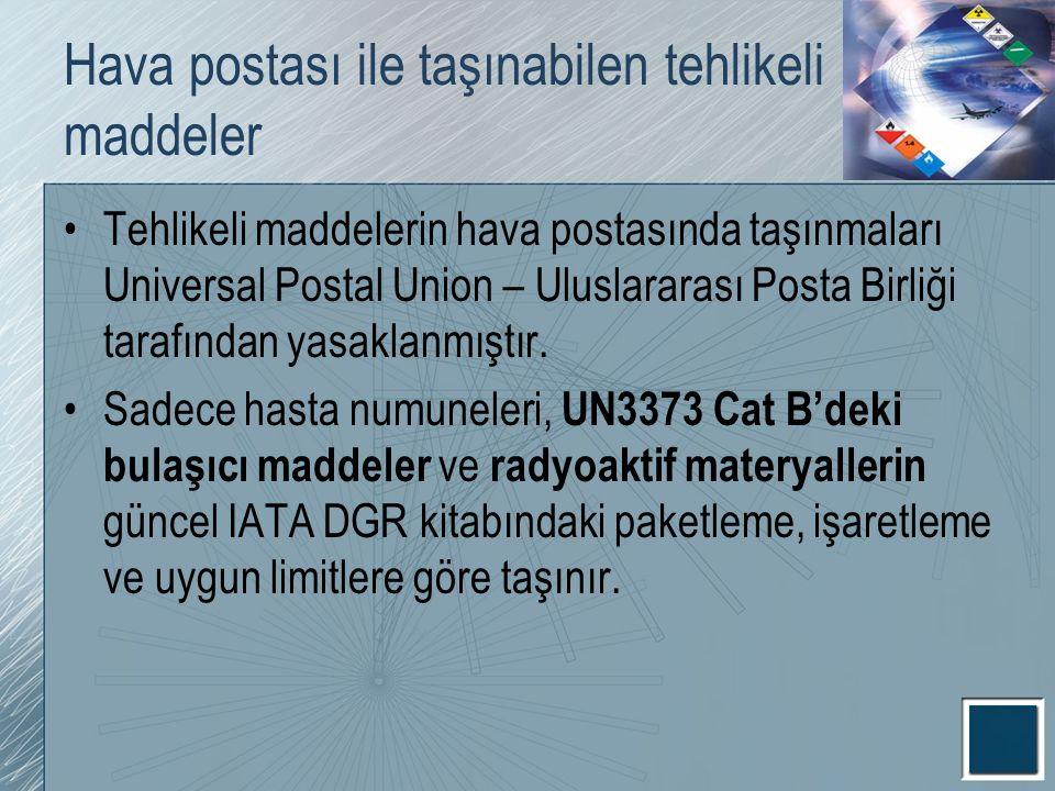 Hava postası ile taşınabilen tehlikeli maddeler Tehlikeli maddelerin hava postasında taşınmaları Universal Postal Union – Uluslararası Posta Birliği t