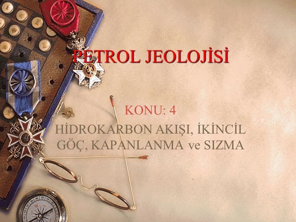 PETROL JEOLOJİSİ KONU: 4 HİDROKARBON AKIŞI, İKİNCİL GÖÇ, KAPANLANMA ve SIZMA