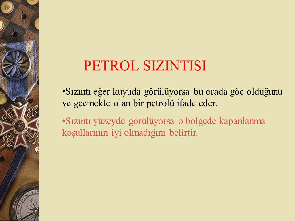 PETROL SIZINTISI Sızıntı eğer kuyuda görülüyorsa bu orada göç olduğunu ve geçmekte olan bir petrolü ifade eder. Sızıntı yüzeyde görülüyorsa o bölgede
