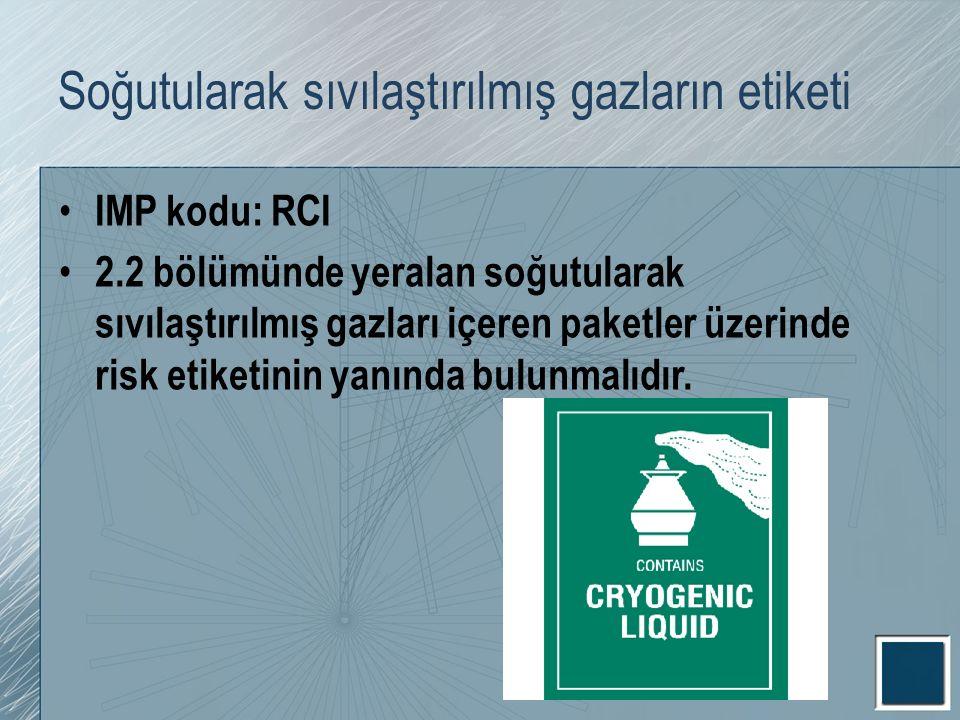 Soğutularak sıvılaştırılmış gazların etiketi IMP kodu: RCI 2.2 bölümünde yeralan soğutularak sıvılaştırılmış gazları içeren paketler üzerinde risk eti