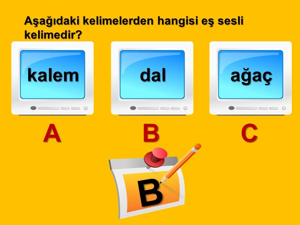 Aşağıdaki kelimelerden hangisi eş sesli kelimedir? kalem A dal B ağaç C B