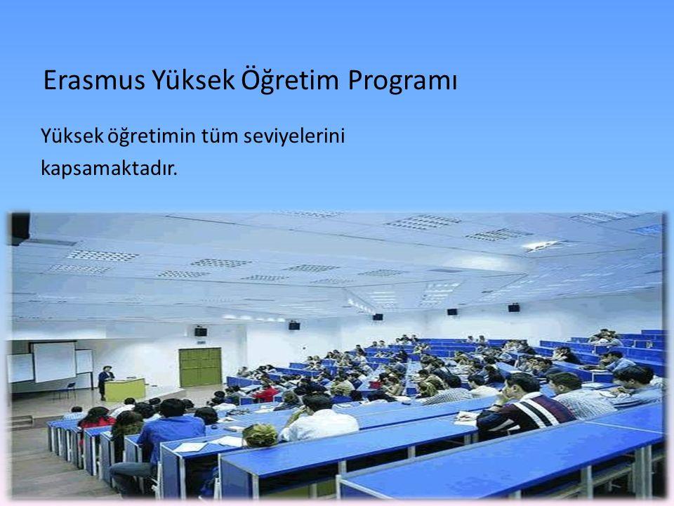 Erasmus Yüksek Öğretim Programı Yüksek öğretimin tüm seviyelerini kapsamaktadır.