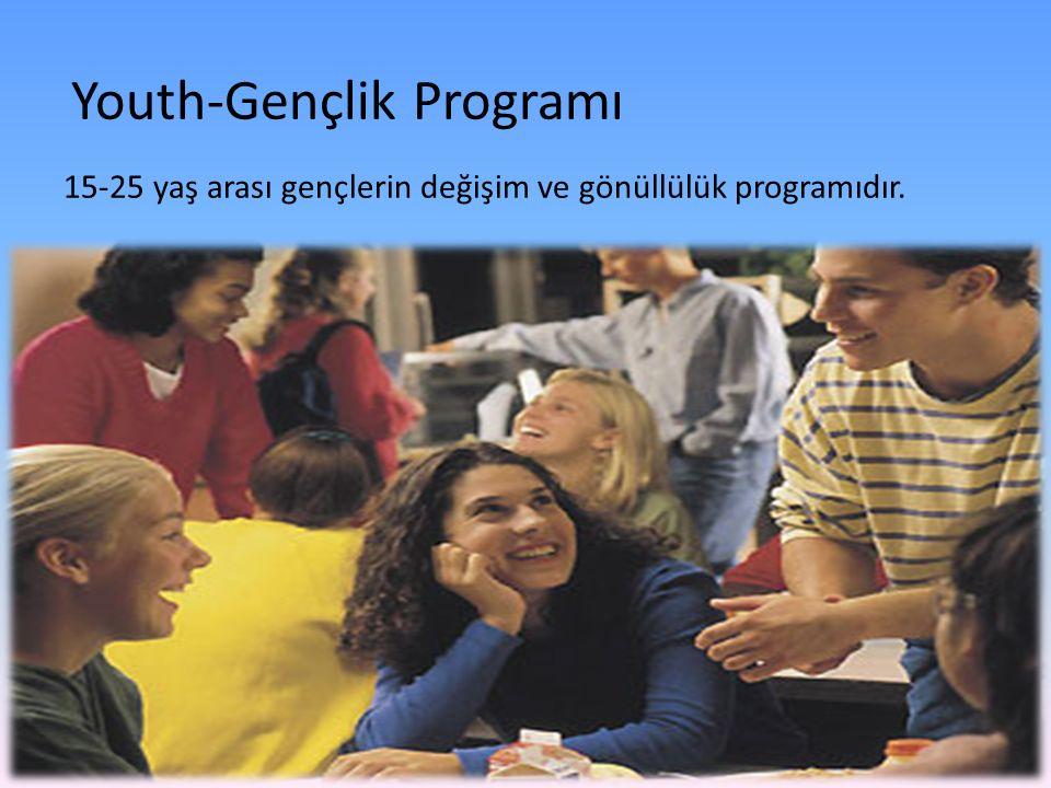 Youth-Gençlik Programı 15-25 yaş arası gençlerin değişim ve gönüllülük programıdır.