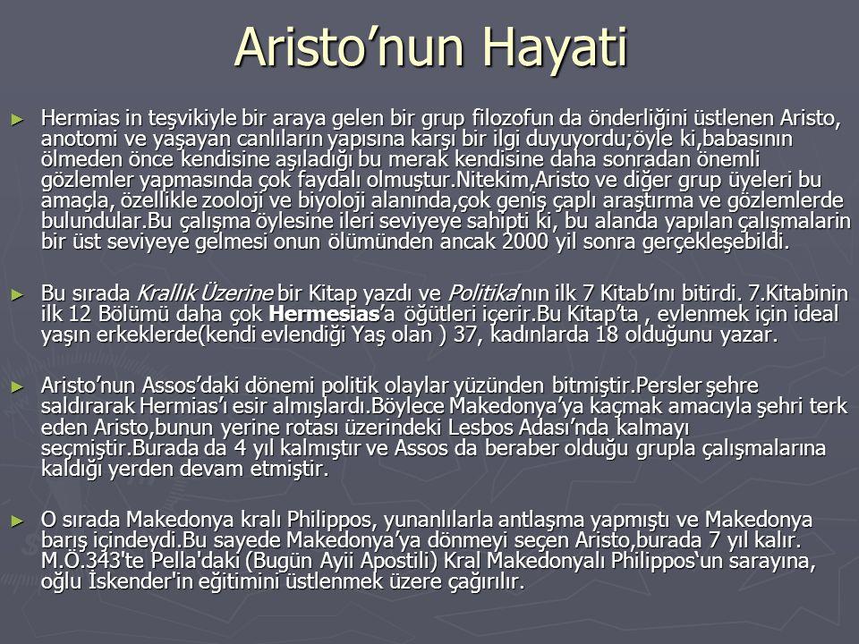 Aristo'nun Hayati ► Atina'daki Akademi(Aristo'nun mezun olduğu) Makedon aleyhtarı bir tutum içindeydi ve barışı sarsmaya yönelik söylemlerde bulunuyordu.Bu yüzden Kral Phlip, Aristo'yu akademi başkanı yaparak bu olaya bir son vermek istiyordu.Fakat, mevcut başkanın ölümü(Plato'nun yeğeni) sonrasında Aristo başkanlığa seçilmedi ve Kral Phillip'in kendisine karşı olan ilgisi azaldı.Bunun üzerine,bir grup arkadaşıyla beraber doğduğu yer olan Stagirus'a döndü.