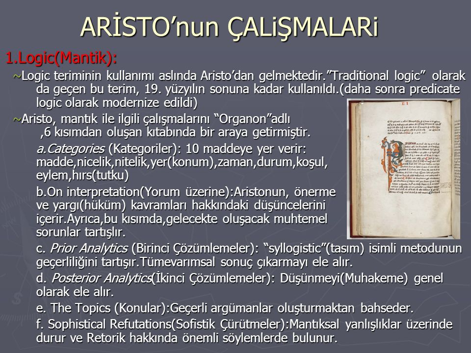 ARİSTO'nun ÇALiŞMALARi 2.EVREN-DOĞA FİZİK Aristoteles, Doğa ve Evren hakkındaki temel düşüncelerini Gökyüzü Üzerine, Meteoroloji,Oluş ve Bozuluş Üzerine ve Fizik adlı kitaplarında toplamıştır.