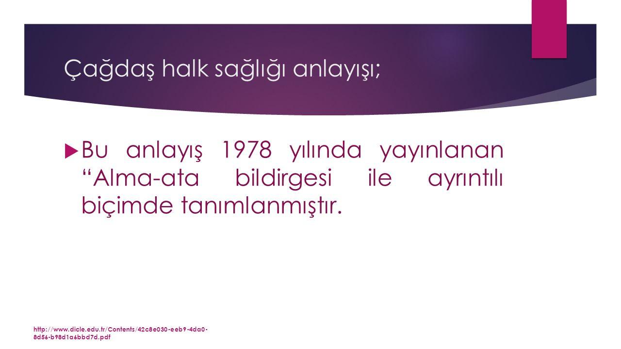 Çağdaş halk sağlığı anlayışı;  Bu anlayış 1978 yılında yayınlanan Alma-ata bildirgesi ile ayrıntılı biçimde tanımlanmıştır.
