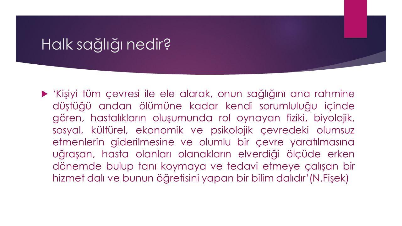 Halk Sağlığı Hemşireliği'nin Tarihçesi devam…  Türkiye'de ilk çalışmalar 1934 yılında refik saydam tarafından başlatıldı,  Bu dönemde hemşireler burs sağlanarak Amerika ya gönderilmiştir.