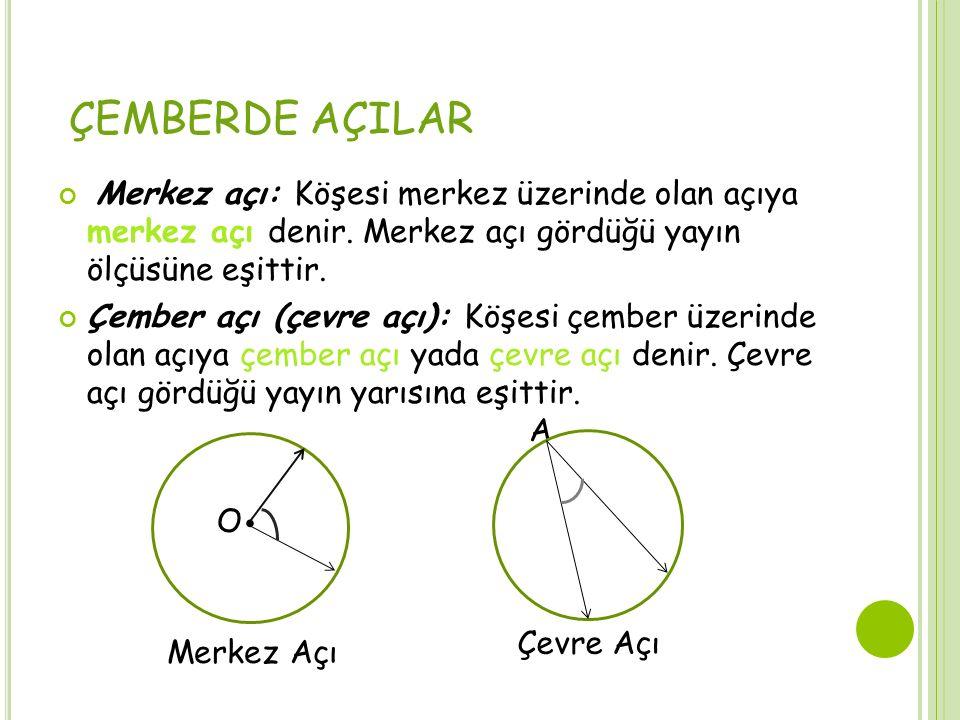 ÇEMBERDE AÇILAR Merkez açı: Köşesi merkez üzerinde olan açıya merkez açı denir. Merkez açı gördüğü yayın ölçüsüne eşittir. Çember açı (çevre açı): Köş