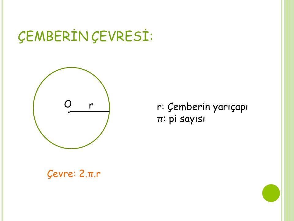 ÇEMBERİN ÇEVRESİ:. O r Çevre: 2.π.r r: Çemberin yarıçapı π: pi sayısı