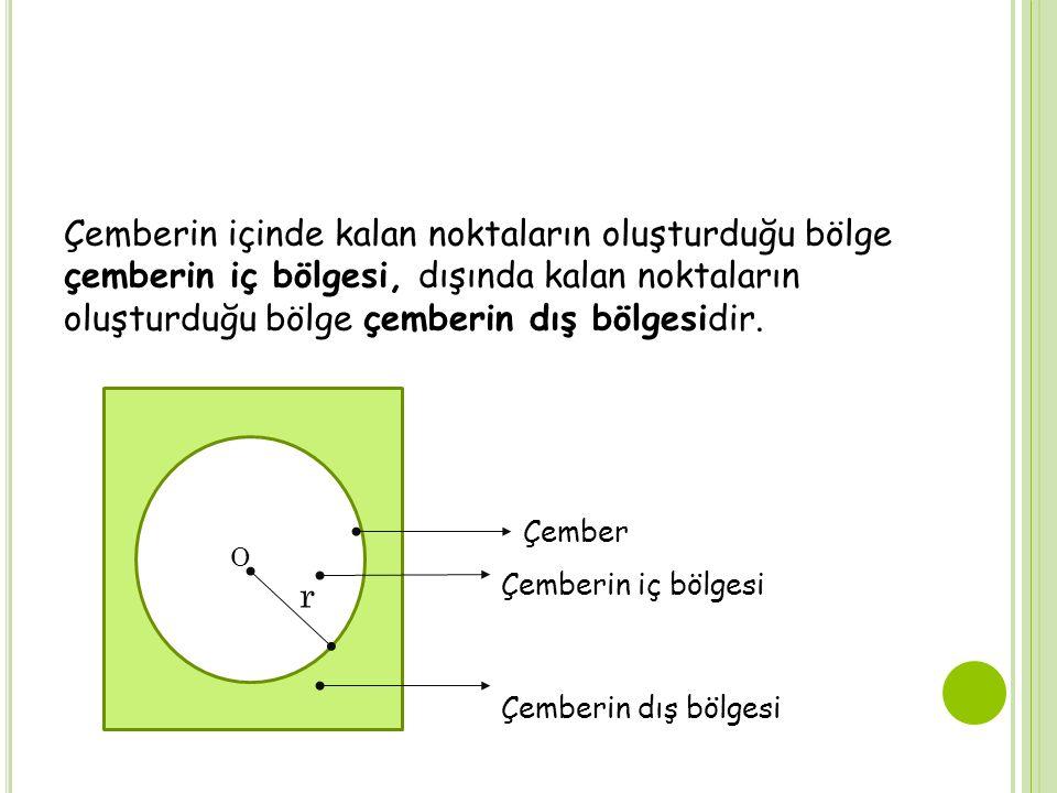Çemberin içinde kalan noktaların oluşturduğu bölge çemberin iç bölgesi, dışında kalan noktaların oluşturduğu bölge çemberin dış bölgesidir.. O r Çembe