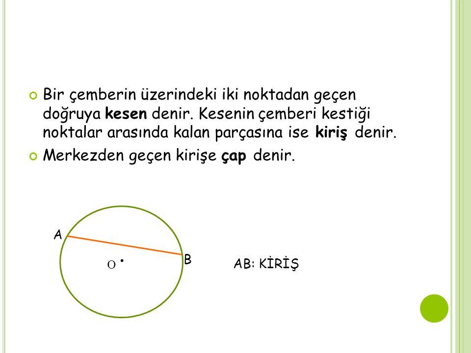 Bir çemberin üzerindeki iki noktadan geçen doğruya kesen denir. Kesenin çemberi kestiği noktalar arasında kalan parçasına ise kiriş denir. Merkezden g