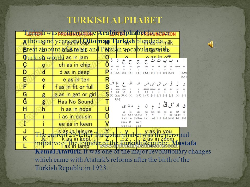 The current 29-letter Turkish alphabet was the personal initiative of the founder of the Turkish Republic, Mustafa Kemal Atatürk.