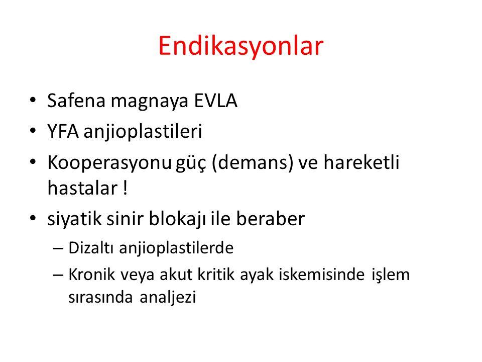 Endikasyonlar Safena magnaya EVLA YFA anjioplastileri Kooperasyonu güç (demans) ve hareketli hastalar .