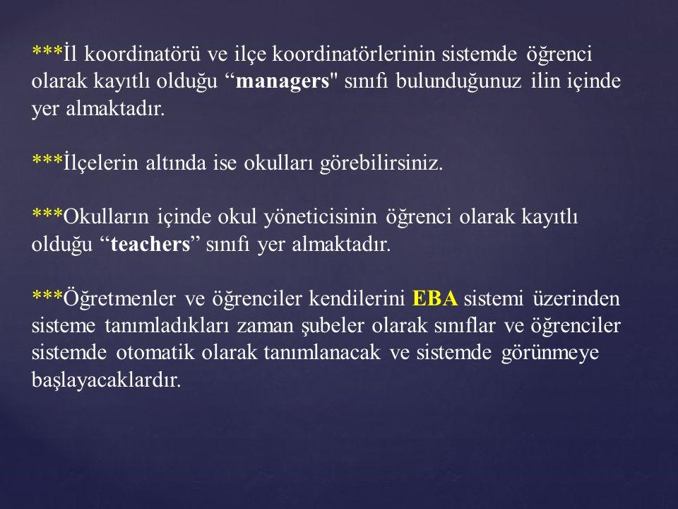 """***İl koordinatörü ve ilçe koordinatörlerinin sistemde öğrenci olarak kayıtlı olduğu """"managers"""