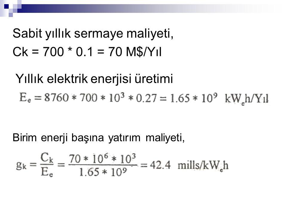 Sabit yıllık sermaye maliyeti, Ck = 700 * 0.1 = 70 M$/Yıl Yıllık elektrik enerjisi üretimi Birim enerji başına yatırım maliyeti,
