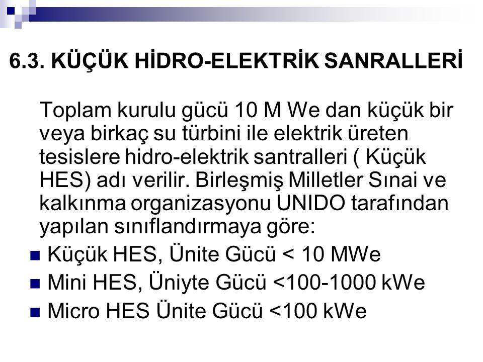 6.3. KÜÇÜK HİDRO-ELEKTRİK SANRALLERİ Toplam kurulu gücü 10 M We dan küçük bir veya birkaç su türbini ile elektrik üreten tesislere hidro-elektrik sant