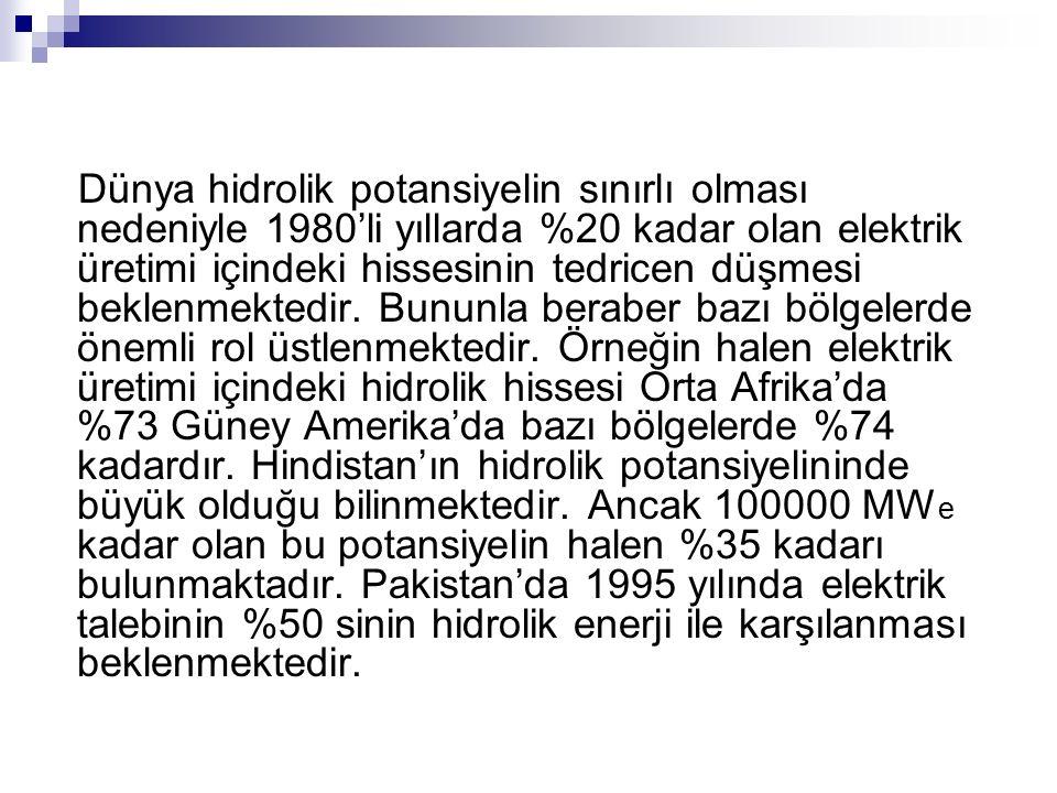 Dünya hidrolik potansiyelin sınırlı olması nedeniyle 1980'li yıllarda %20 kadar olan elektrik üretimi içindeki hissesinin tedricen düşmesi beklenmekte