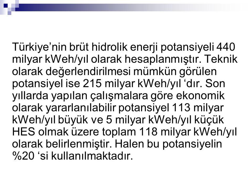 Türkiye'nin brüt hidrolik enerji potansiyeli 440 milyar kWeh/yıl olarak hesaplanmıştır. Teknik olarak değerlendirilmesi mümkün görülen potansiyel ise