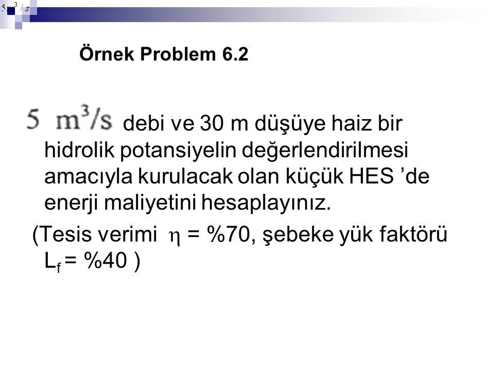 Örnek Problem 6.2 debi ve 30 m düşüye haiz bir hidrolik potansiyelin değerlendirilmesi amacıyla kurulacak olan küçük HES 'de enerji maliyetini hesapla